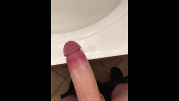 Cumshot At My Friends House on Bathroom Vanity - Huge Unload of CUM !