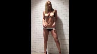 Horny Cougar & the restroom Spotlight Rub Down!