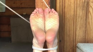 Tied to a post and tickled