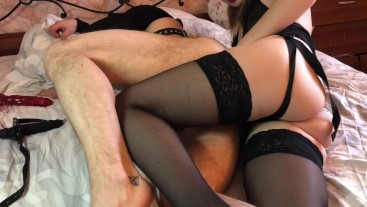 Hot femdom strapon sex, he cum in his mouth
