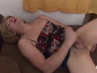 Twink masturbates bed dressed up like a woman...
