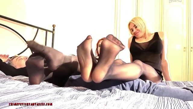Smelling womens pantyhose videos - Gianluca has a foot smelling dream with two cute women in pantyhose