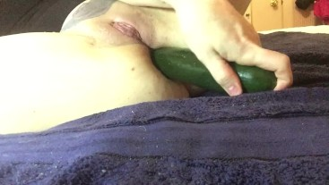 Myra squirts before before she can get the whole cucumber in her ass. 4K