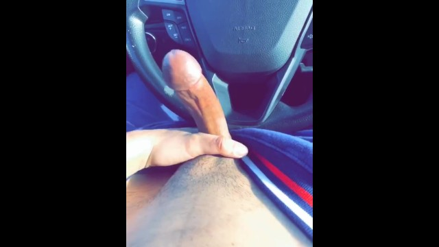 Teen boy jocks Dick out in the drivers seat