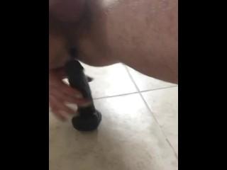 Hung Twink Impales Himself on Huge Black Dildo