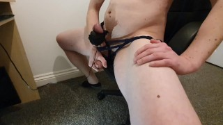 Cock BDSM Moaning and Cumming Tied to my Office Chair - TiedToCum