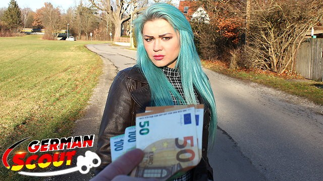 Blowjobs in the street - German scout - green hair teen talk to fuck at real pick up street casting