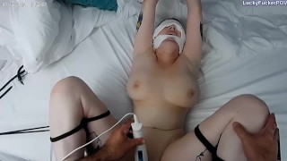 Curvy Blonde with Big Natural Tits Bound and Fucked to Cream Pie