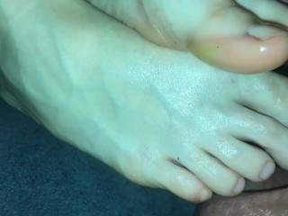 Amateur footjob #66 MILF want me to play with her toes, cum on veiny feet