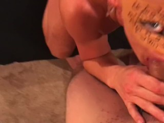 Misha strips and swallows big hard cock while masterbating