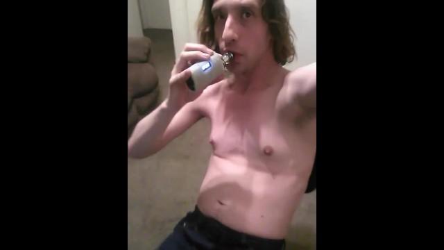 Topless Vaping Transgal Stimulating Nipples With Vapor 31