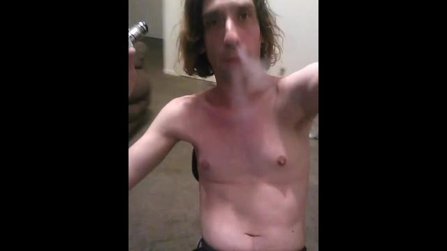 Topless Vaping Transgal Stimulating Nipples With Vapor 15