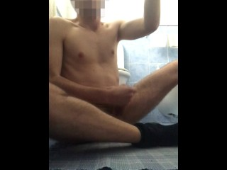 Horny quarantined twink jerks off and tastes...