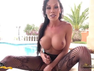 Mia Jacking Off by the Poolside