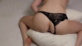 sweet girl gets an orgasm from Pillow Humping