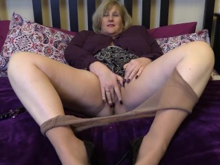 Taking My Glass Dildo Deep In My Wet Pussy In Tan Pantyhose