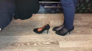 black nylon and high heels mistress domination smell shoes and foot