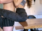 Fucked on a table! Intense sex after workout, loud moaning orgasm, creampie