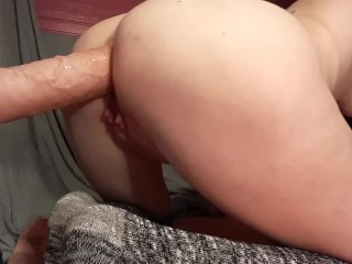 Stuffing and gaping little ass toy...