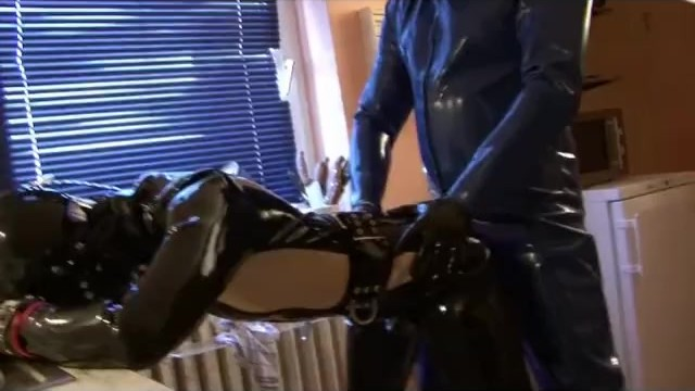 Rubber fetish mask - Young rubber slave girl fully rubberized gagged with latex gas mask fucked