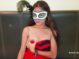 Asian hooker waiting for costumers and play her...