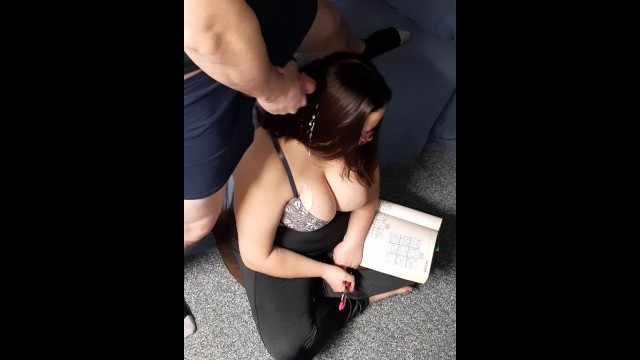 Quietly masturbating behind best friend while she plays Sudoku. Cum in hair 40
