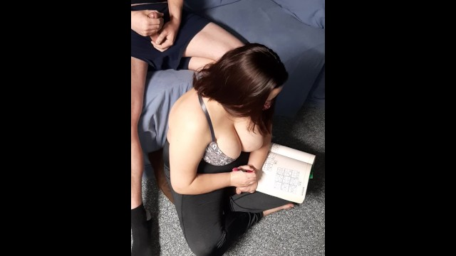 Quietly masturbating behind best friend while she plays Sudoku. Cum in hair 18