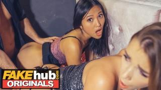 LADIES CLUB Thai Teen and Stunning Blonde Fight Then Fuck Doorman