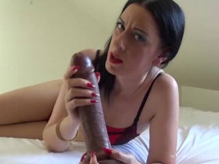 The lady in red jerk off pov...