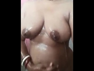 Soapy massage in bathroom