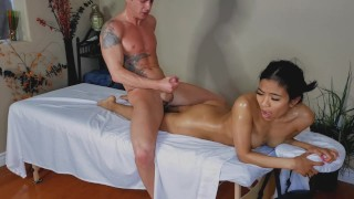 ASIAN GIRL CHEATS ON BOYFRIEND AT MASSAGE