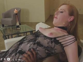 GenderX – Redhead TS Babe In Leggings Takes Black Dick