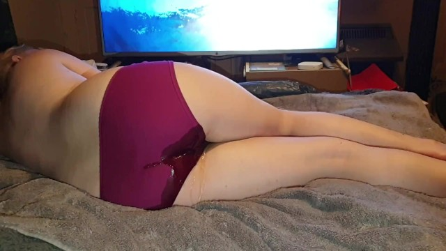 Spanked for accidentally peeing panties - Cute bedwetting pees panties while watching nature documentary