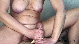 The girlfriend rides on the penis and gets a portion of sperm in the open p