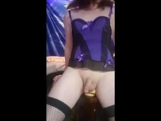 Sucking and riding dildo...