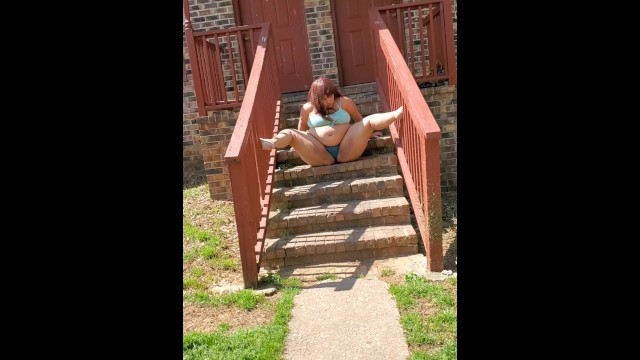 Milf with ass - Outdoors stairs practice