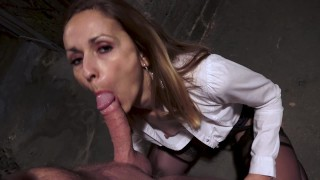 BLONDE MOM ASS FUCKED IN A DIRTY CELLAR