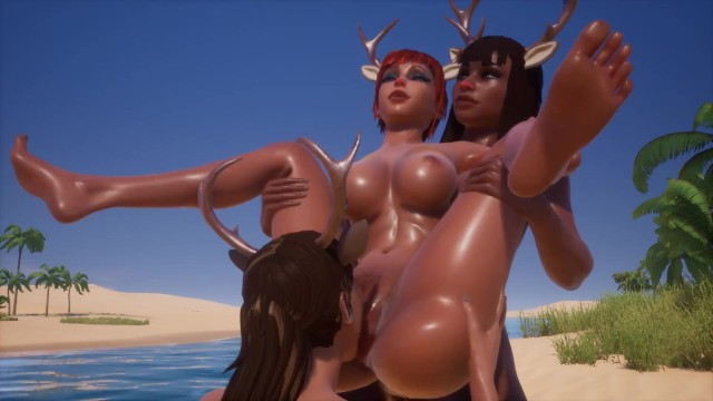 Spring break nude beaches - Sexy reindeer lesbian orgy at spring break, pussy licking at the nude beach