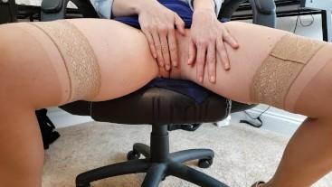 Naughty milf peeing at her desk