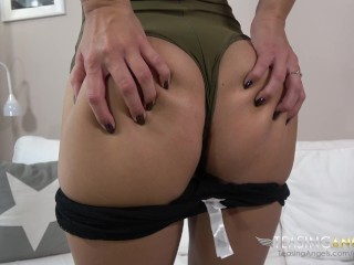 Petite brunette spreads her long legs for some vibrator fun