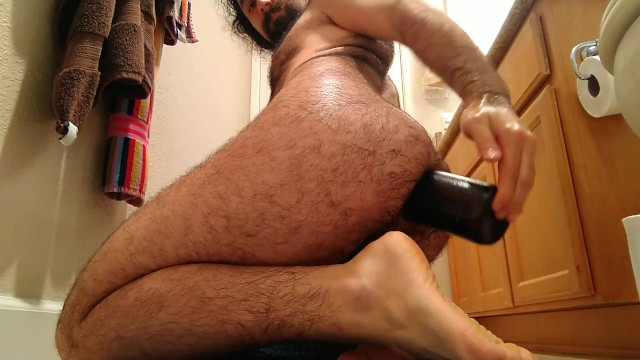 Free gay hairy man sex - How to fuck a wine bottle: hairy dude rides wine bottle hard deep anal