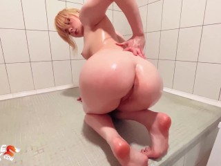 Teen Big Ass Anal Masturbation Glass Toy and Fingering Pussy Orgasm