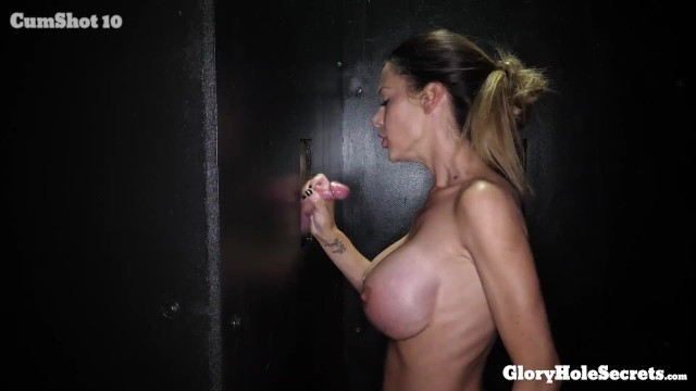 Glory hole race Huge titty milf sucks strangers cocks and eats their cum