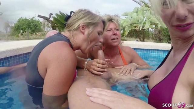 Three GERMAN MILFs help Guy to Cum on Holiday ... - Pornhub