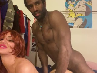 BBC Fucks Hot Ginger  Wife While Husband Watches