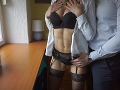 Secretary in stockings fucked by her boss on fist day at work I LacyLuxxx