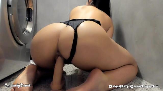 Laundry Room Hot Latina Girl Masturbates Dildo Riding - Emanuelly Raquel 17