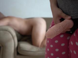 Prostate massage orgasm then pegged with own cum...