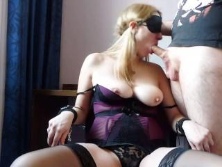 Blindfolded milf natural tits bound sloppy deepthroat...
