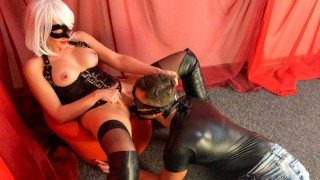 Femdom Pussy Licking and jump on face strapon to orgasm